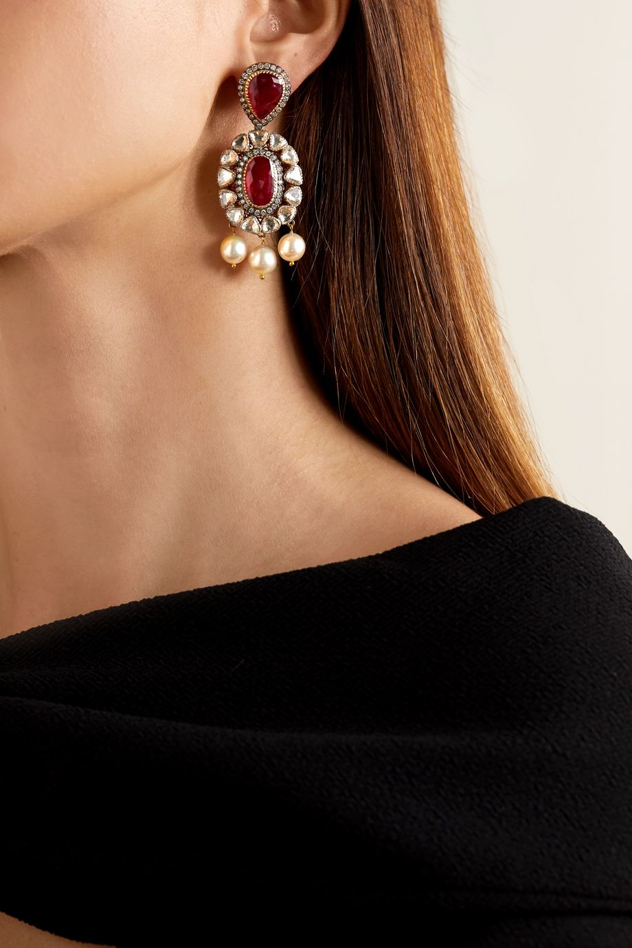 Amrapali Sterling silver and 18-karat gold multi-stone earrings