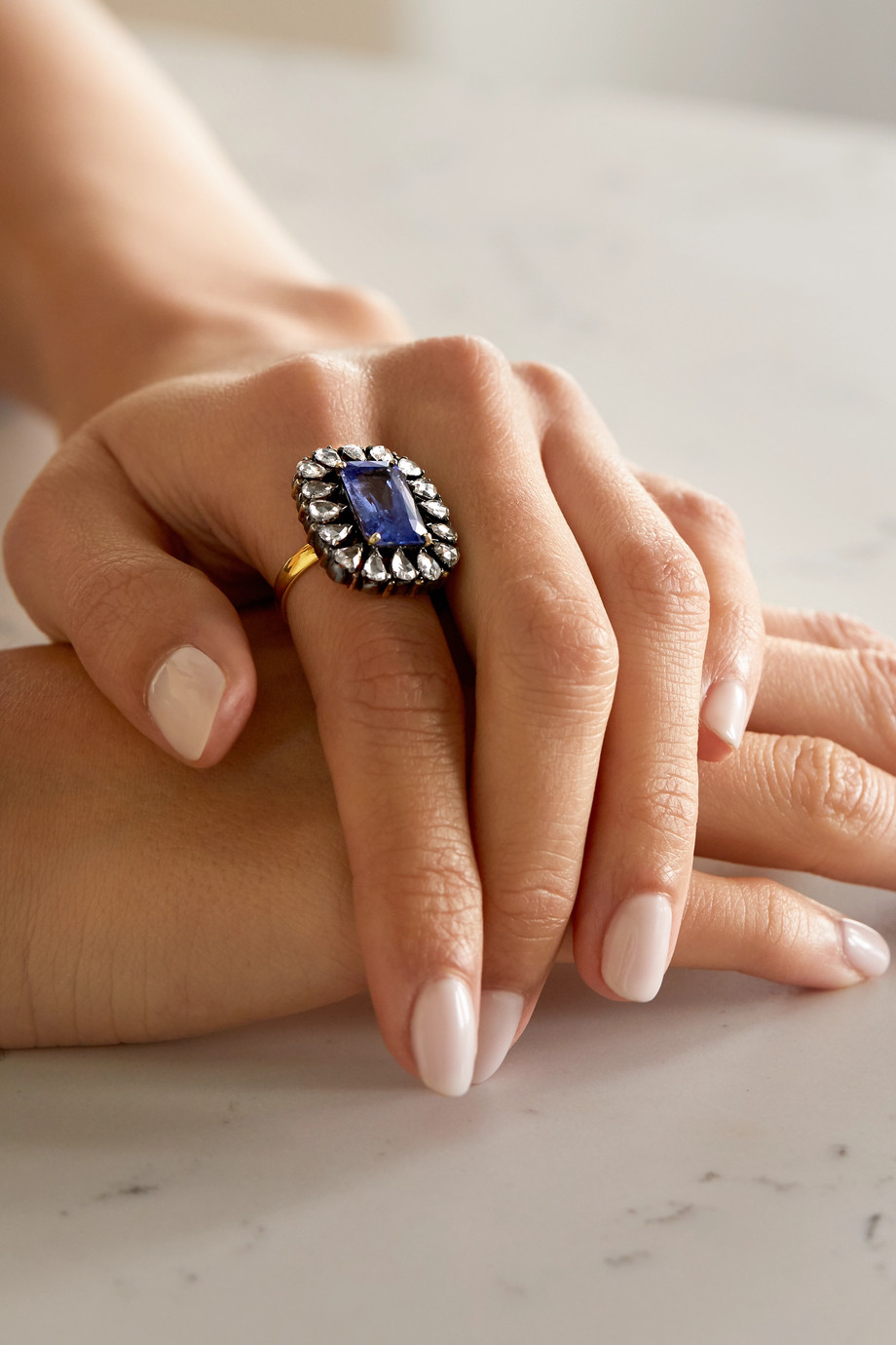 Amrapali Sterling silver and 18-karat gold, sapphire and diamond ring