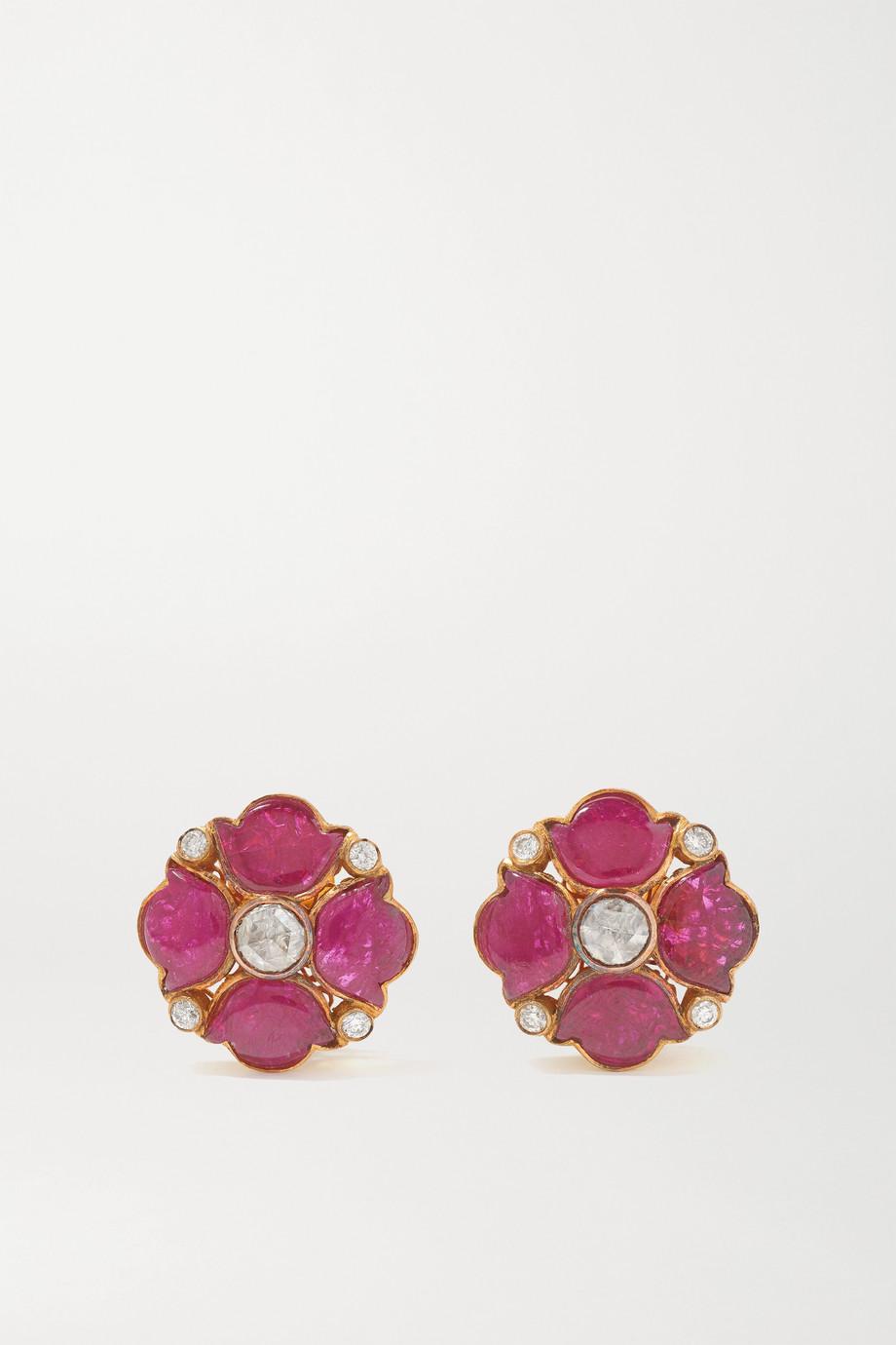 Amrapali Boucles d'oreilles en or 18 carats, rubis et diamants