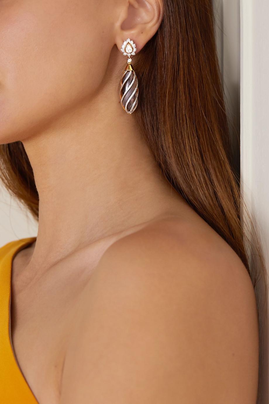 Amrapali Ohrringe aus 18 Karat Gelb- und Weißgold mit Quarzen und Diamanten