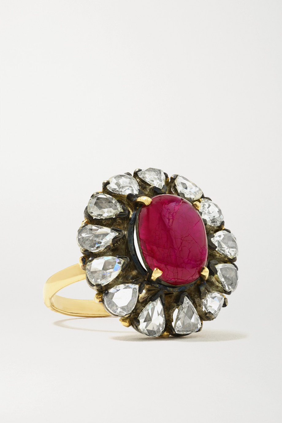 Amrapali 18-karat gold, sterling silver, diamond and ruby ring