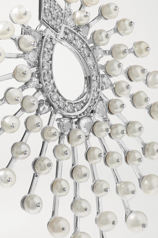 Amrapali 18-karat white gold, diamond and pearl earrings