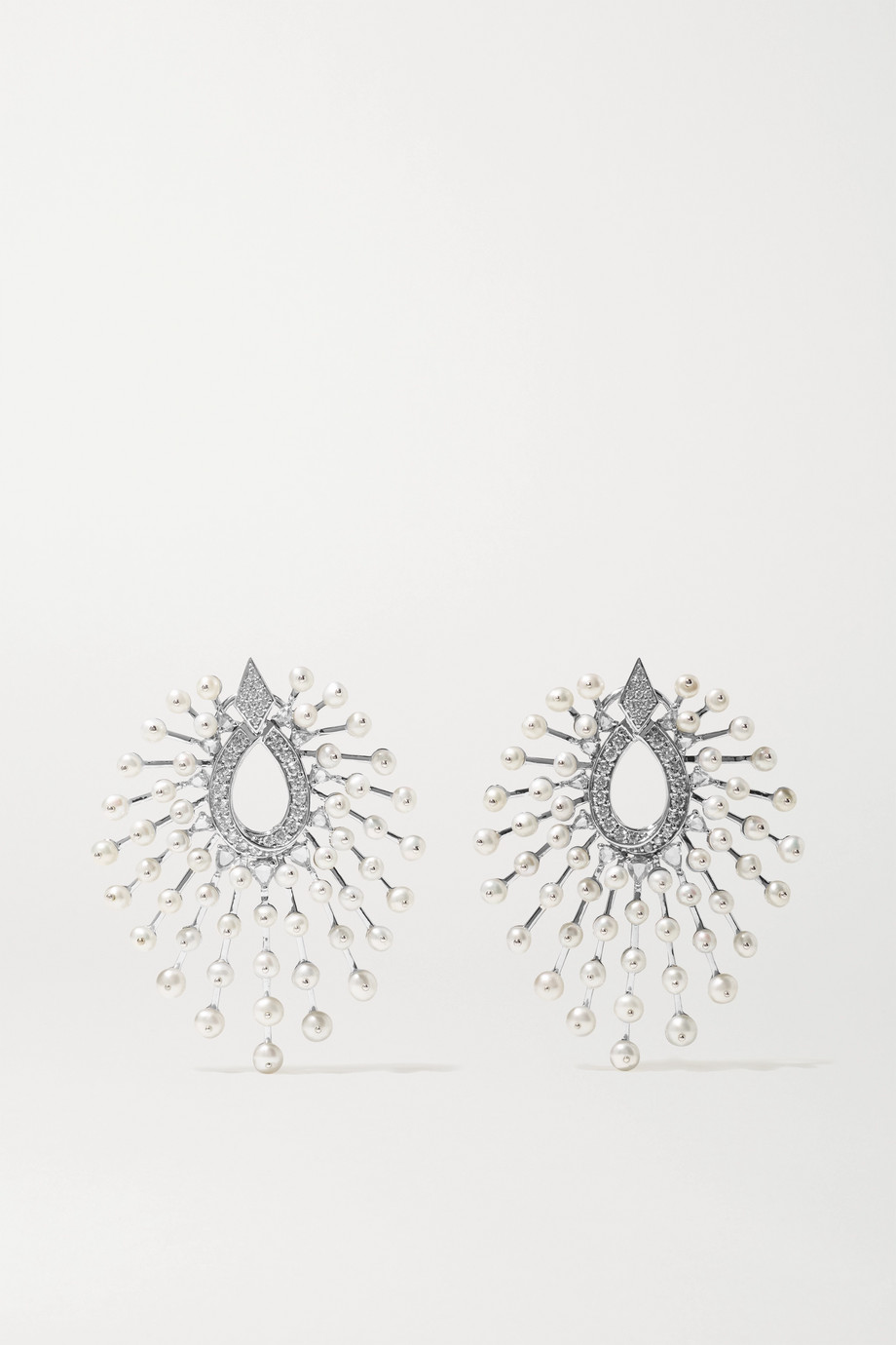 Amrapali 18-karat white gold, diamond and pearl earrings