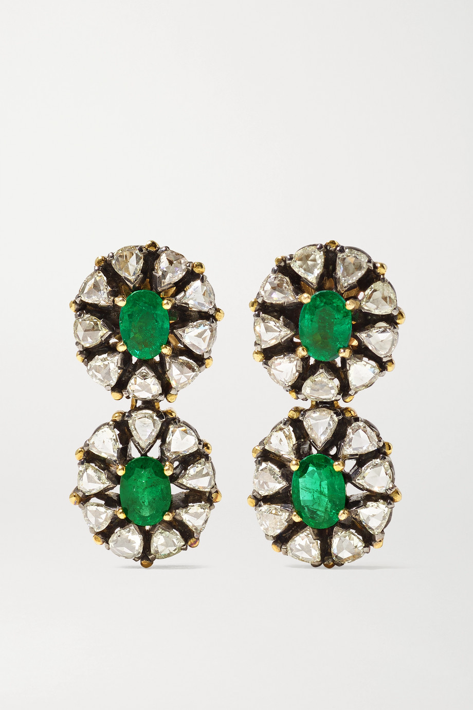 Amrapali 18-karat gold, sterling silver, emerald and diamond earrings