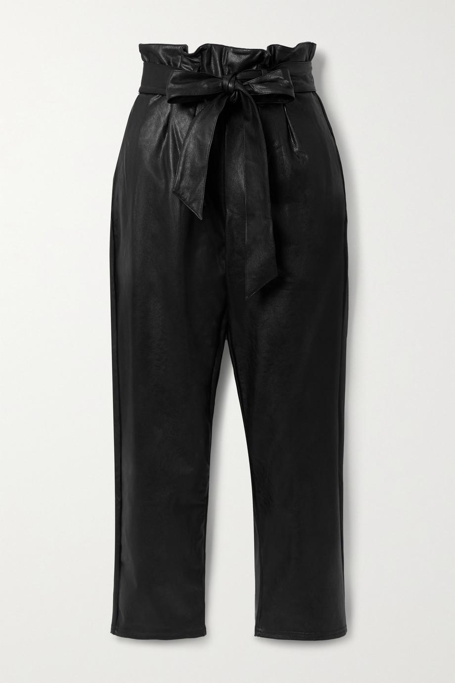 Commando Pantalon fuselé en cuir synthétique à plis et à ceinture
