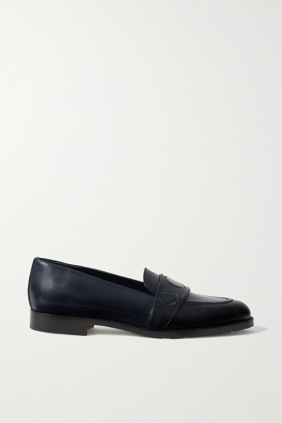 Manolo Blahnik Palua patent-trimmed leather loafers