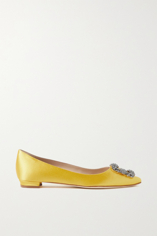 Manolo Blahnik Chaussures plates à bouts pointus en satin à ornements Hangisi