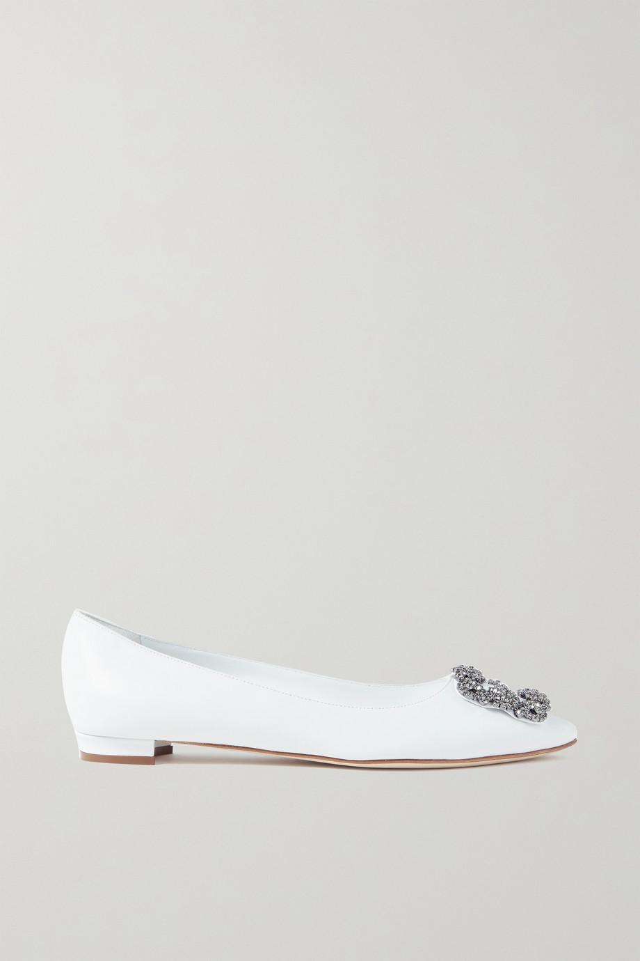 Manolo Blahnik Hangisi embellished leather point-toe flats