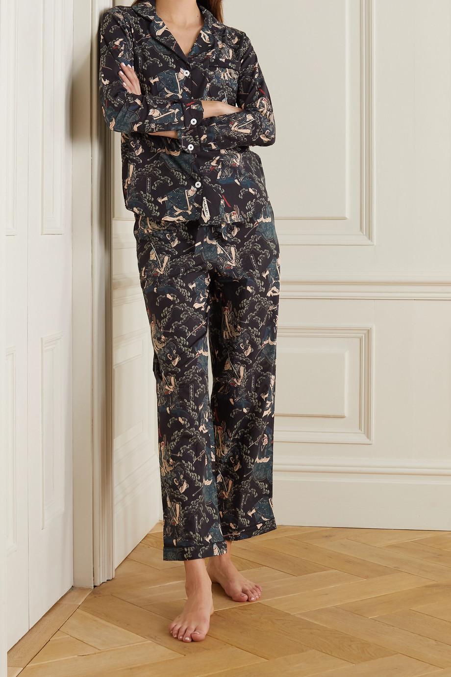 Desmond & Dempsey + Rie Takeda printed organic cotton pajama set