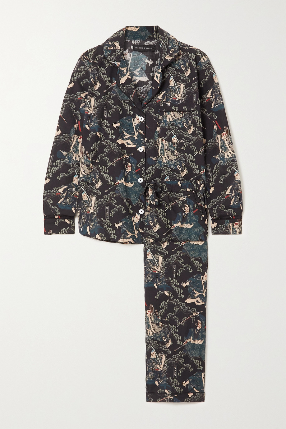 Desmond & Dempsey + Rie Takeda Pyjama aus bedruckter Biobaumwolle