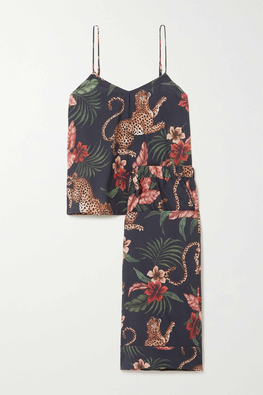 Desmond & Dempsey Soleia Printed Cotton Pajama Set In Navy
