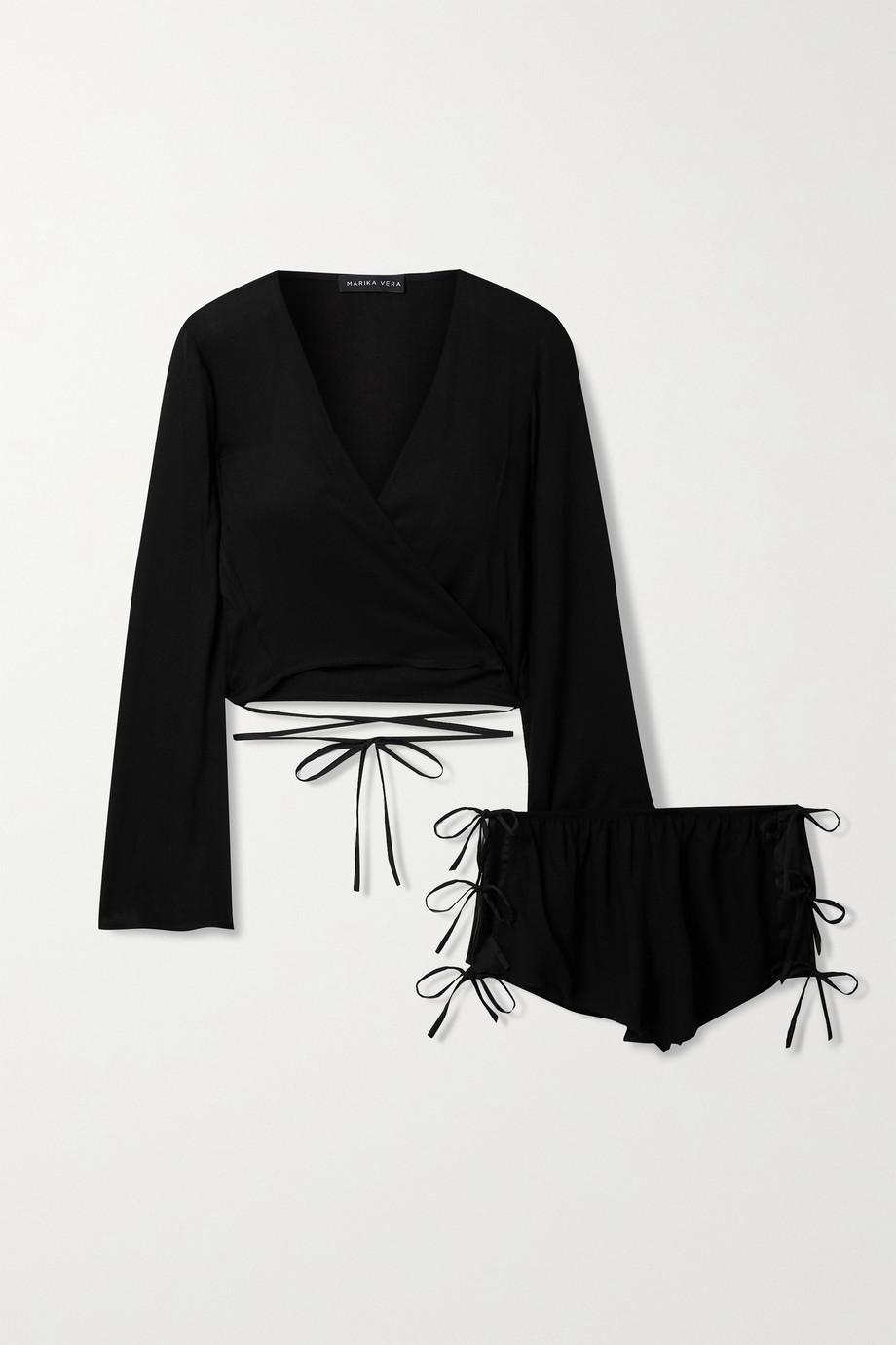 Marika Vera Eva tie-detailed crepe pajama set