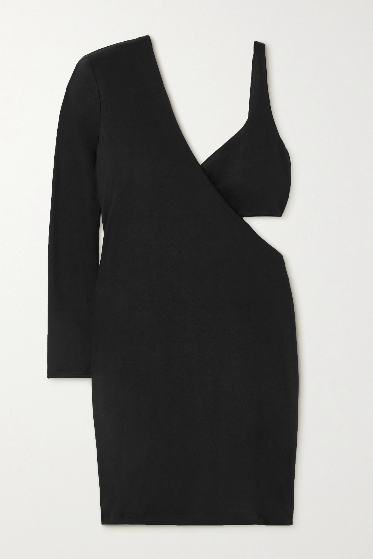 Marika Vera Frances one-sleeve cutout stretch-jersey mini dress