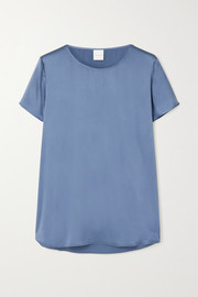 Max Mara + Leisure Cortona silk-blend satin T-shirt