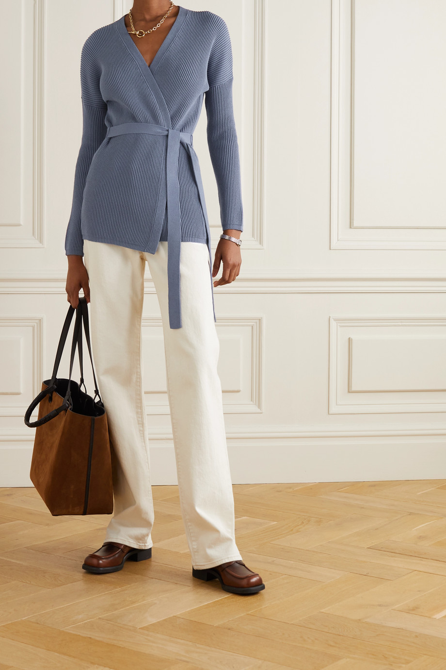 Max Mara + Leisure belted ribbed cotton-blend cardigan