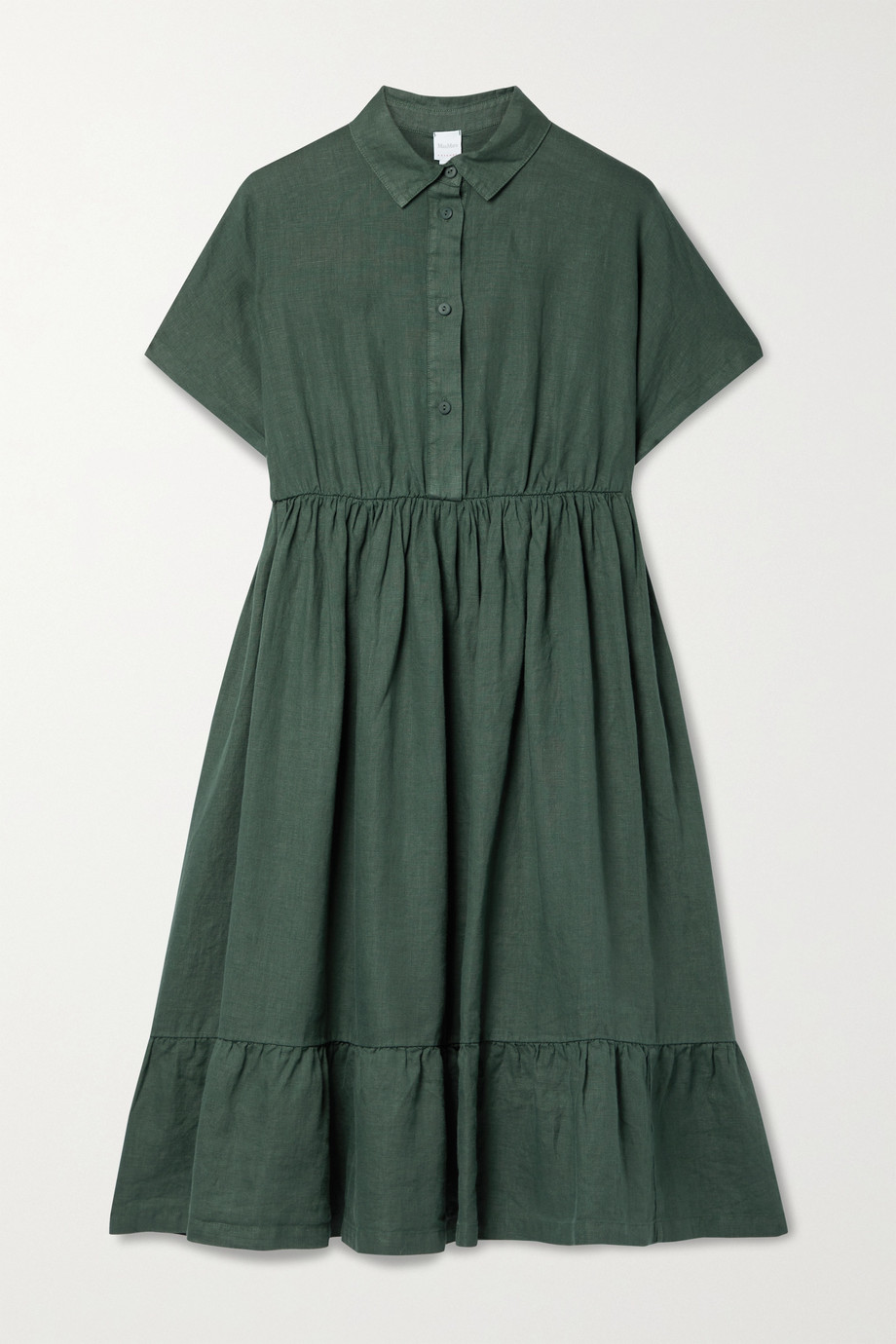 Max Mara + Leisure Dolmen gathered linen dress
