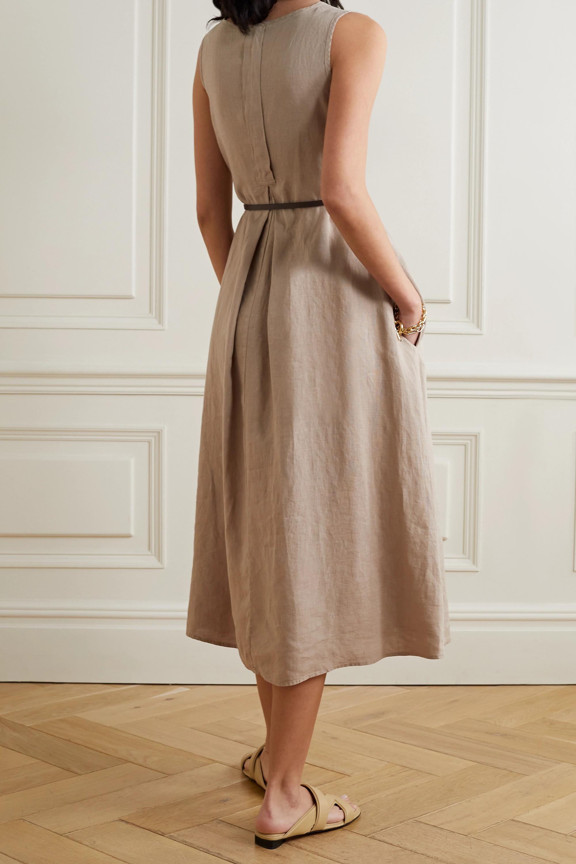 Max Mara + Leisure Nettuno belted linen midi dress