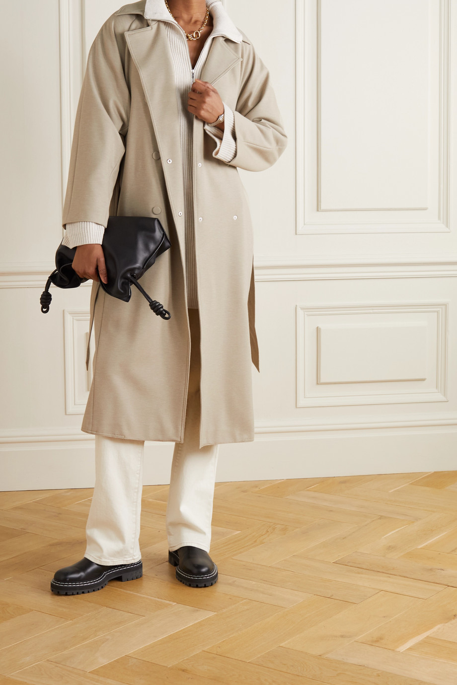 Max Mara + Leisure Cinghia belted double-breasted wool-blend jersey trench coat