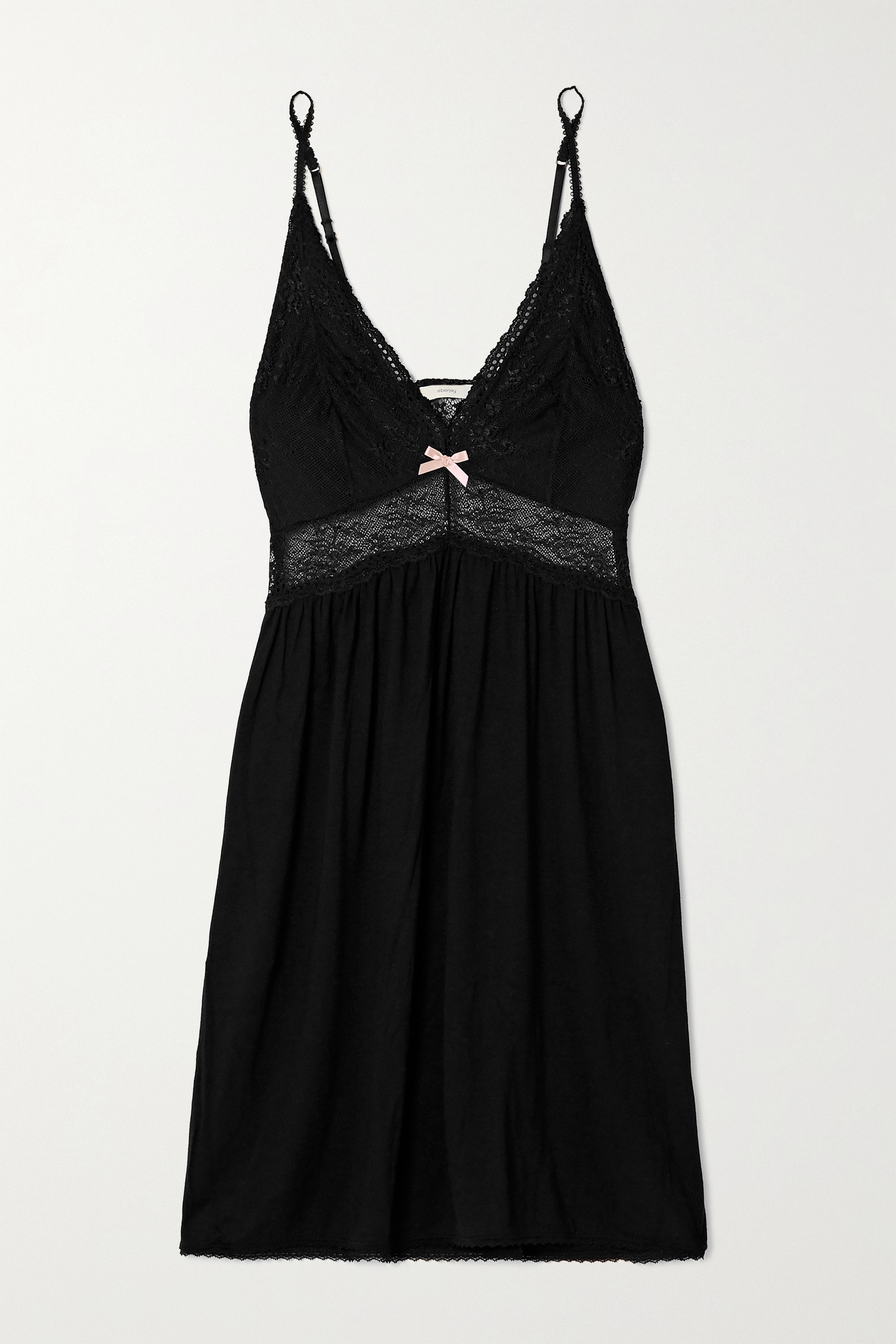 Eberjey Colette Mademoiselle lace-trimmed stretch-modal chemise