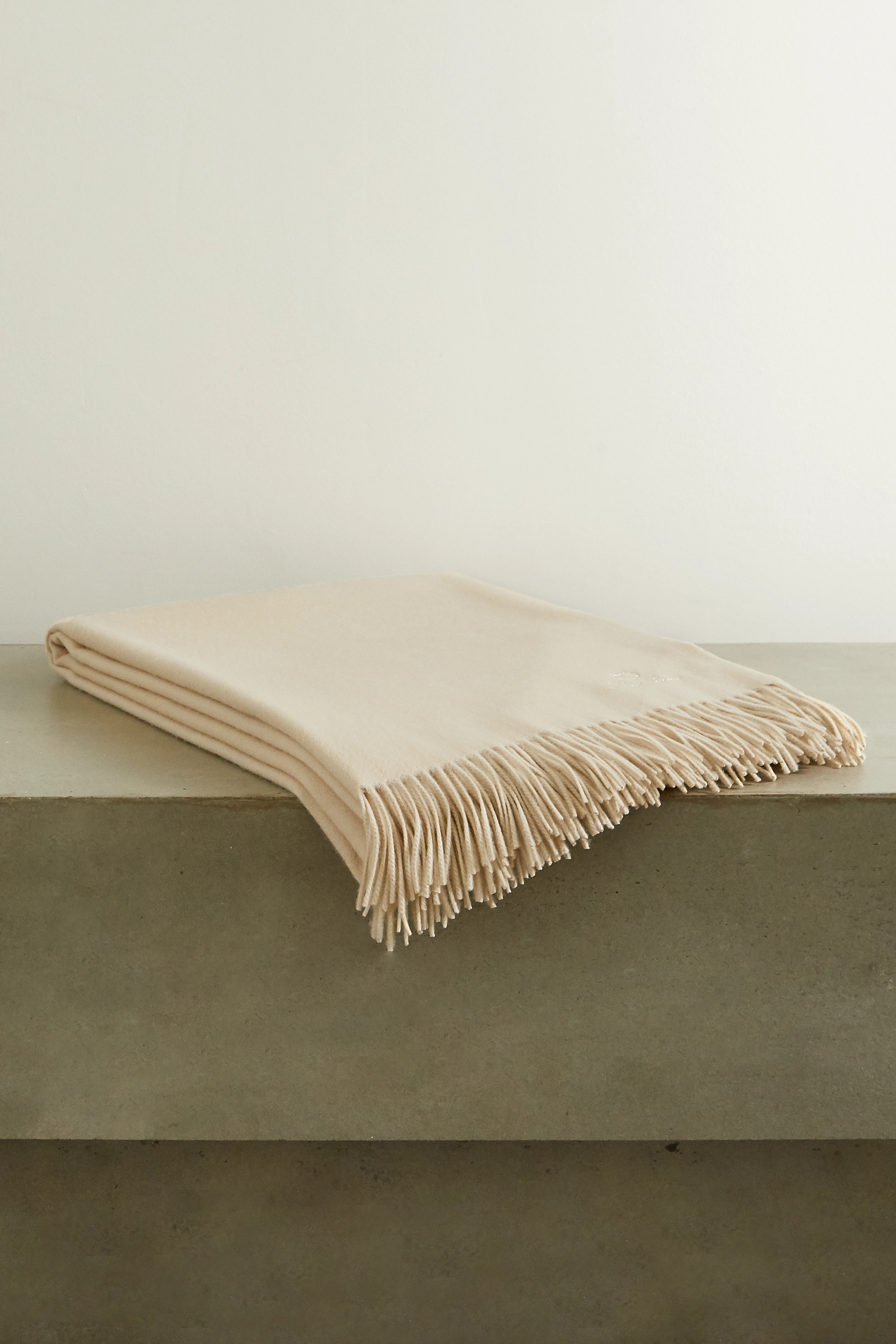 Loro Piana Fringed embroidered cashmere throw