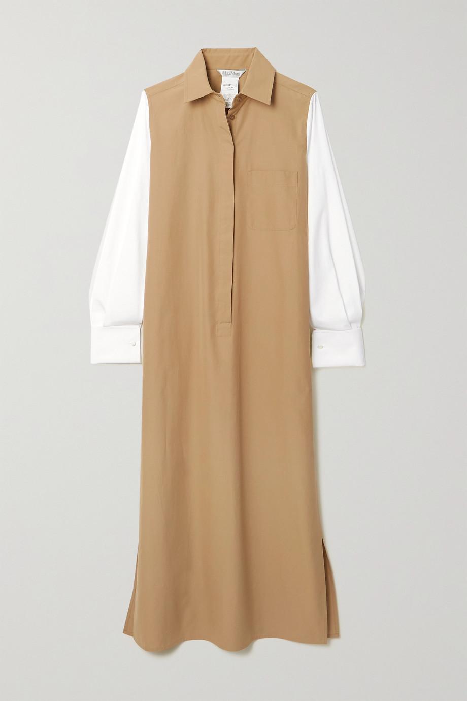 Max Mara Robe-chemise midi en popeline de coton bicolore