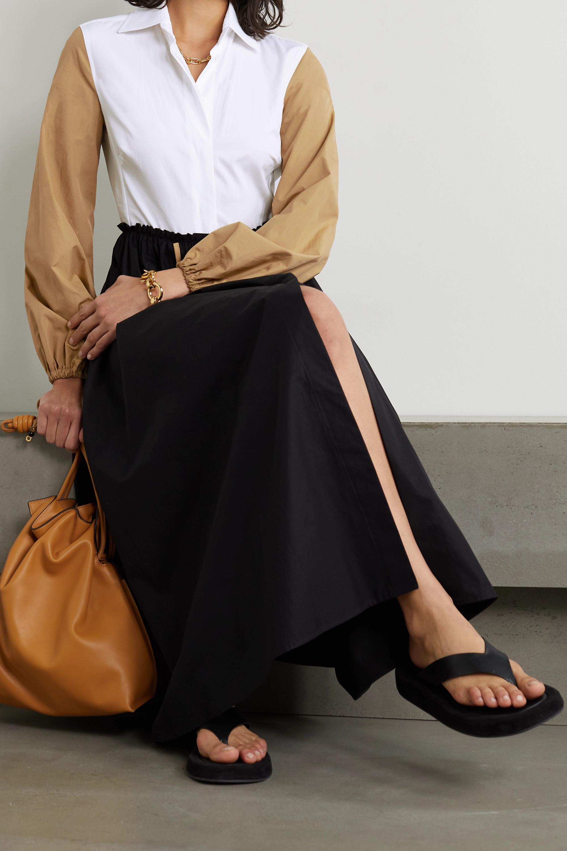 Max Mara Scacco color-block pleated cotton-poplin midi dress