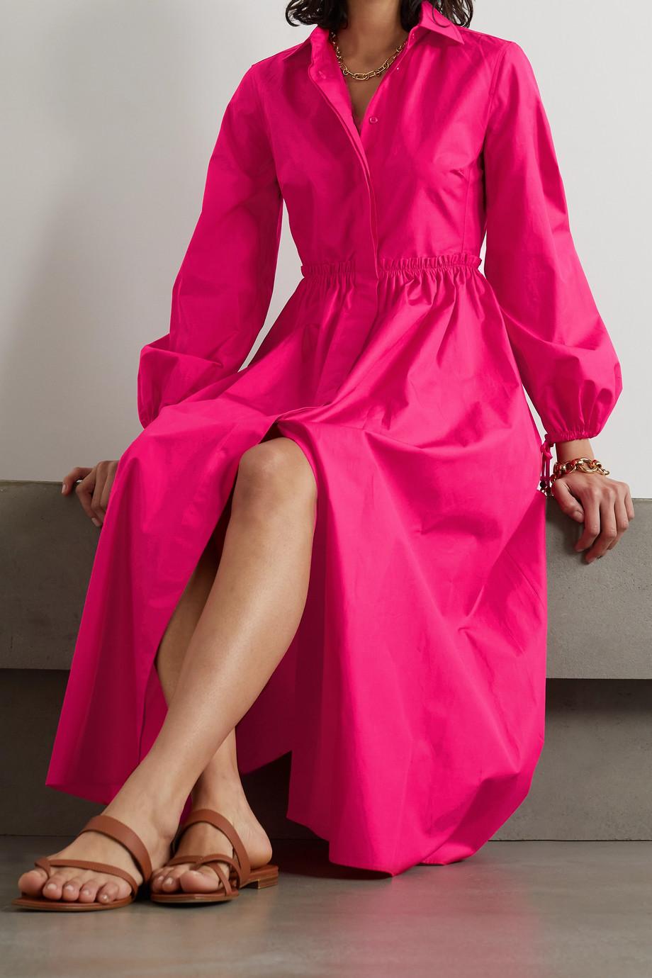 Max Mara Bairo Hemdblusenkleid aus Baumwollpopeline mit Raffungen