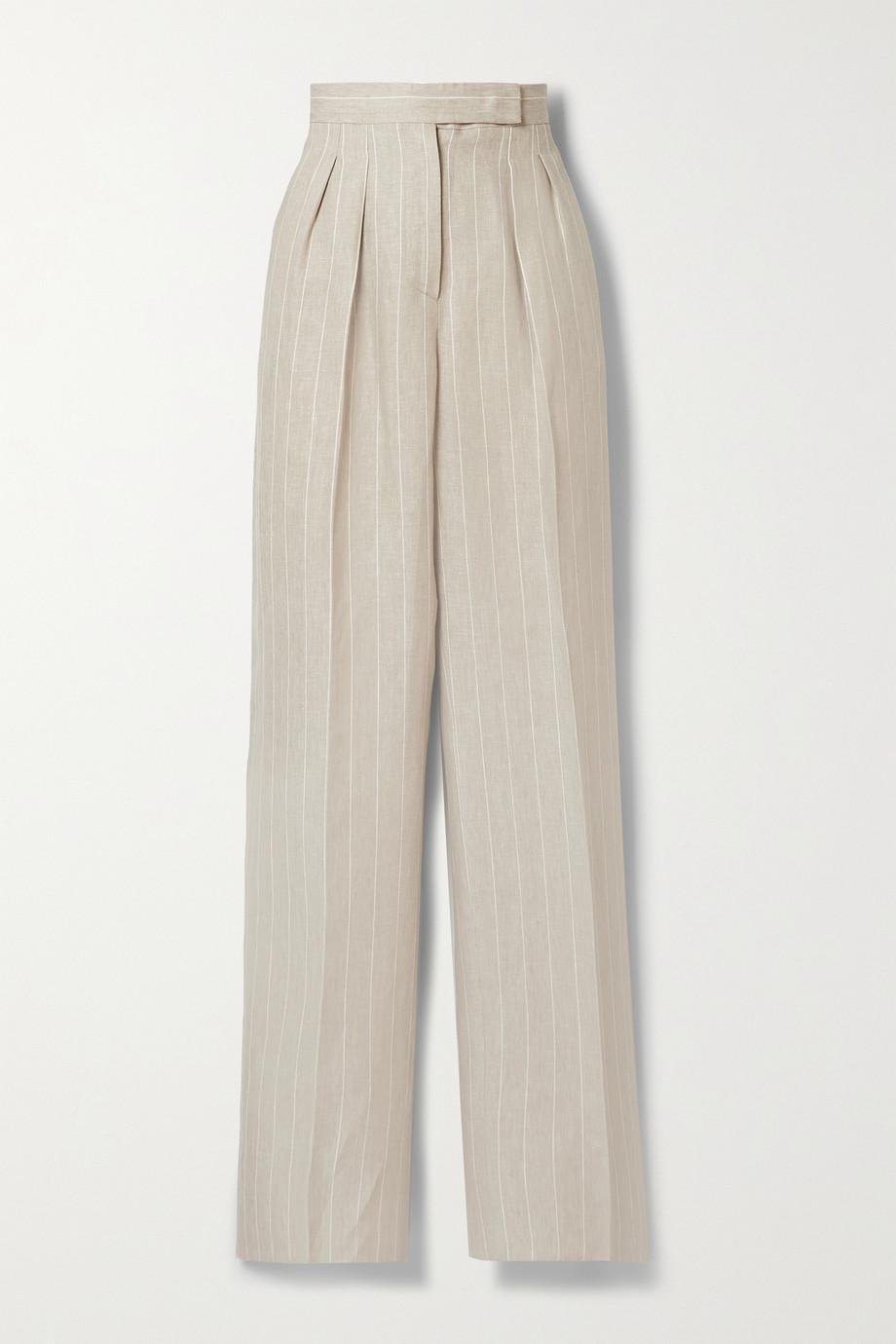 Max Mara Lallo Hose mit weitem Bein aus Leinen mit Nadelstreifen