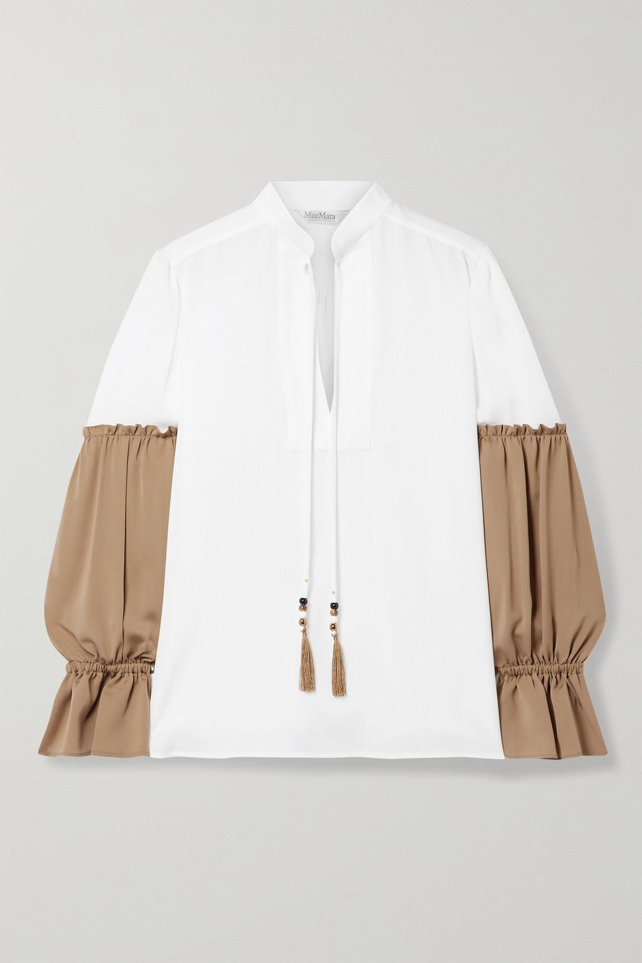 Max Mara Rail tasseled two-tone silk-charmeuse blouse