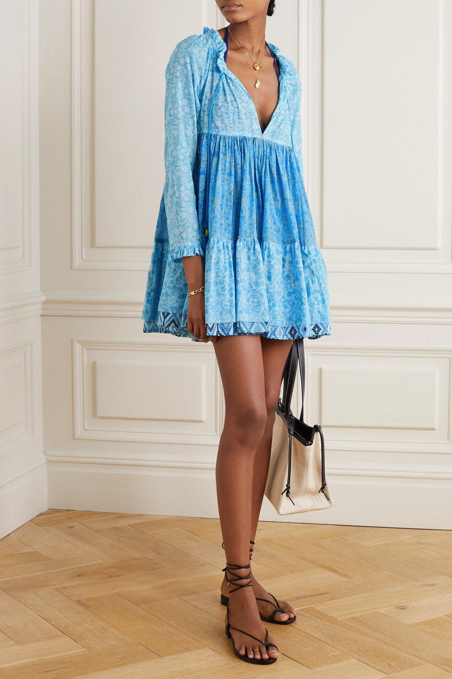 Yvonne S Tiered ruffled floral-print cotton-voile mini dress