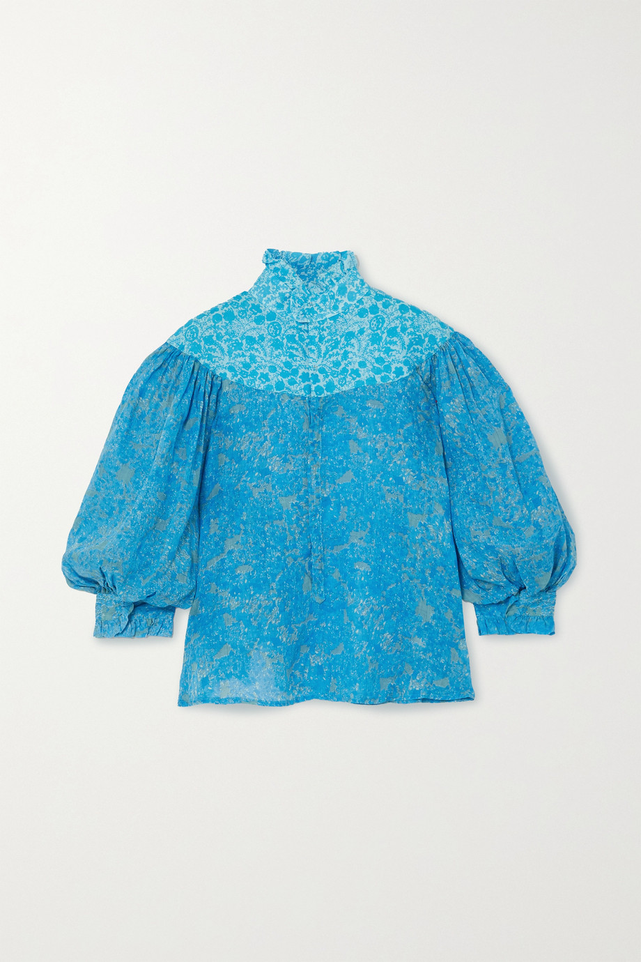 Yvonne S Queen Victoria ruffled floral-print linen blouse