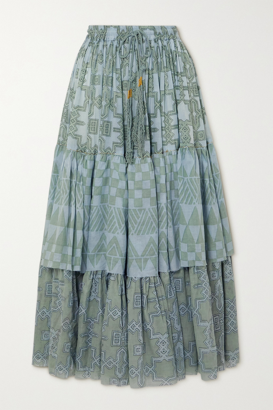 Yvonne S Tiered printed cotton-voile maxi skirt