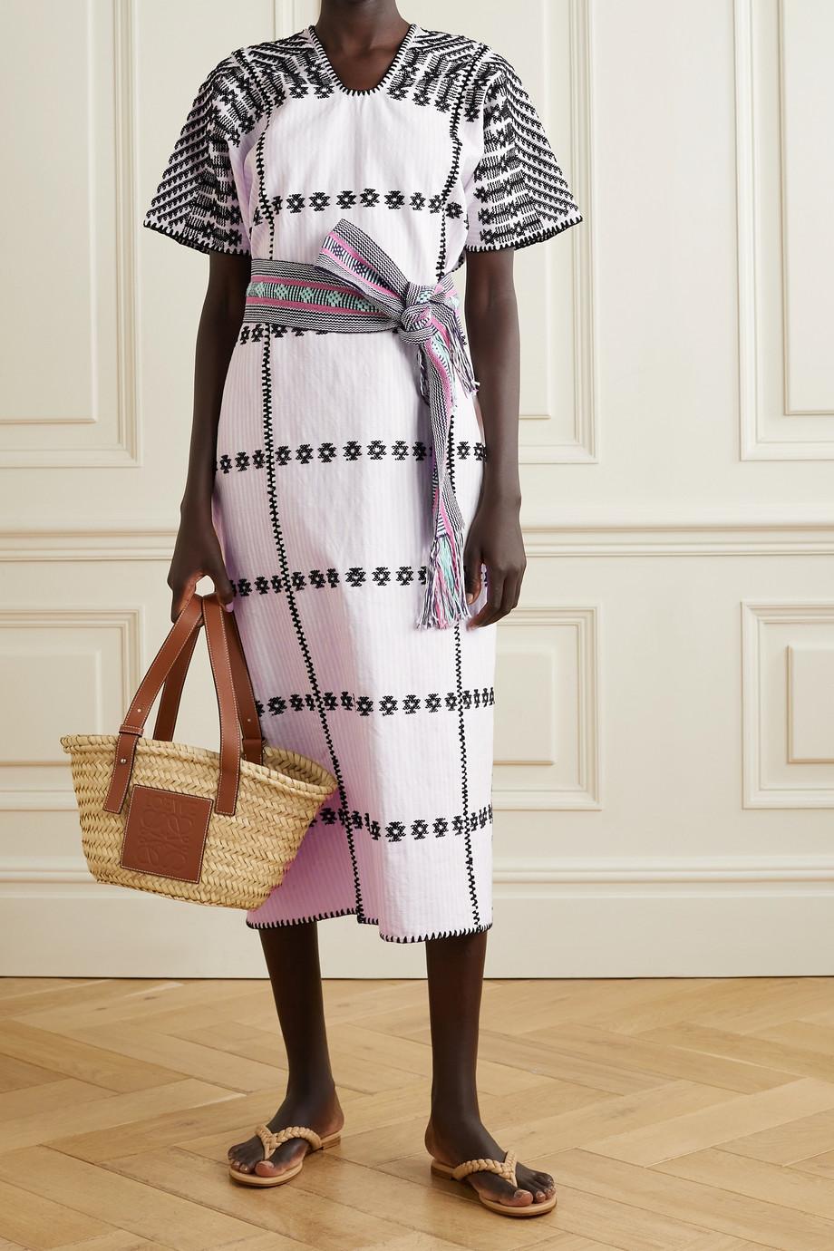 Pippa Holt + NET SUSTAIN Huipil-Kleid aus gestreifter Baumwolle mit Stickereien