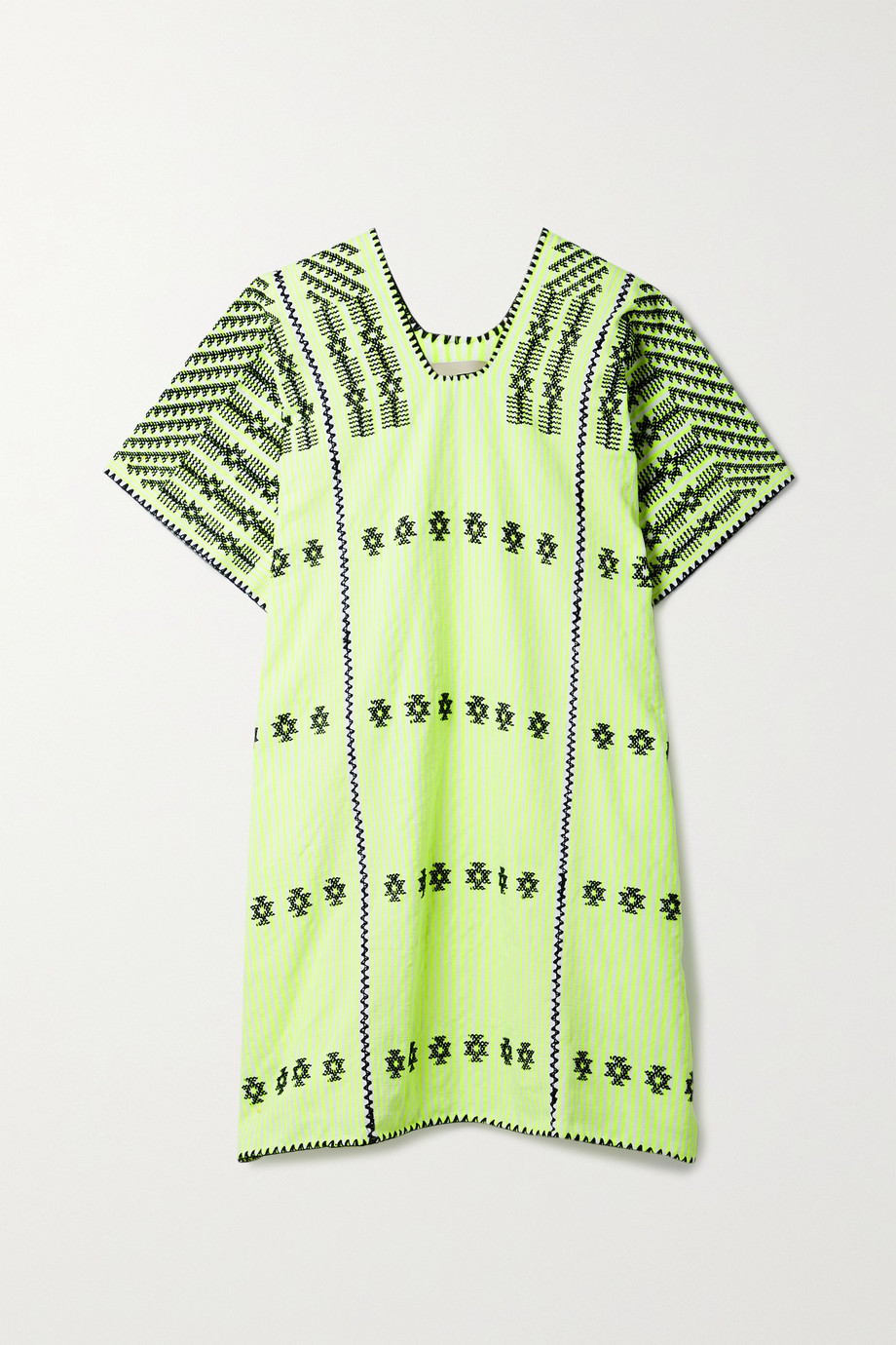 Pippa Holt + NET SUSTAIN embroidered striped neon cotton huipil