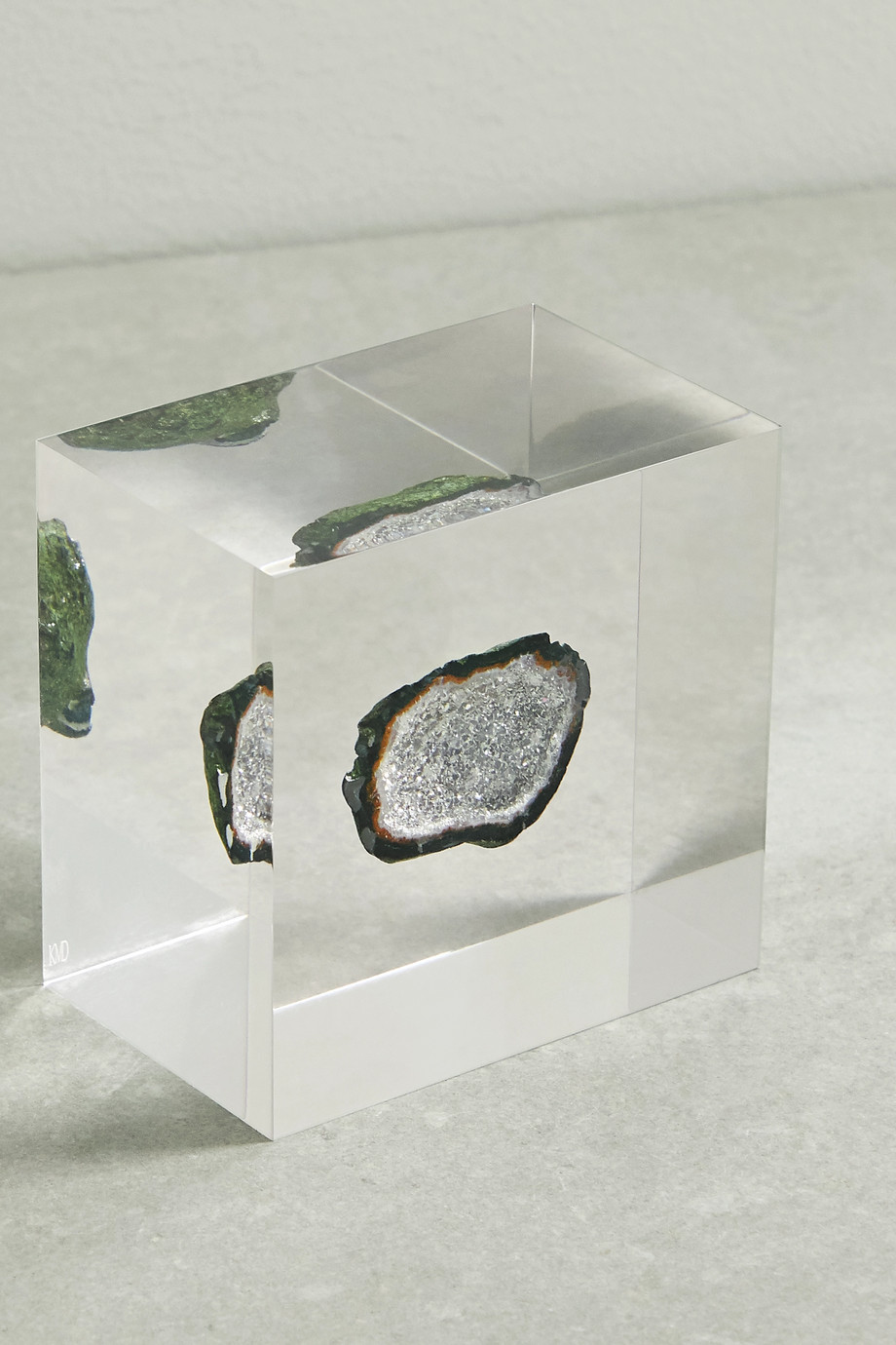 Kimberly McDonald Lucite and geode cube