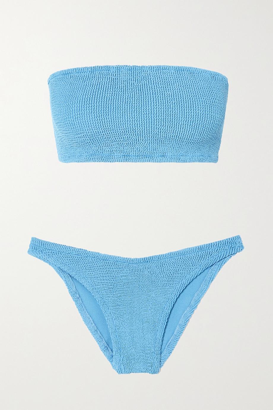 Hunza G + NET SUSTAIN Gabrielle Bandeau-Bikini aus Seersucker