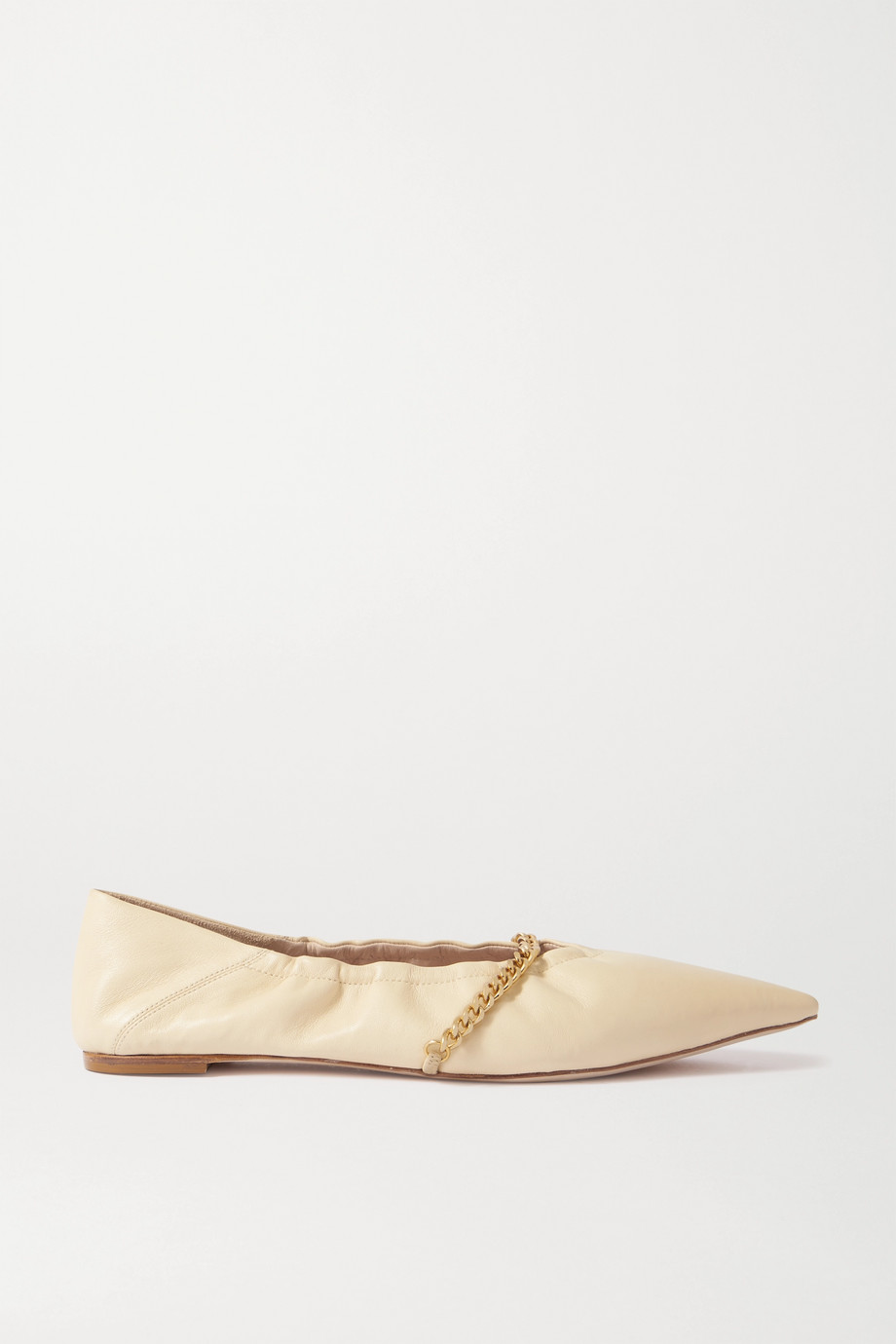 Porte & Paire Chain-embellished leather point-toe flats