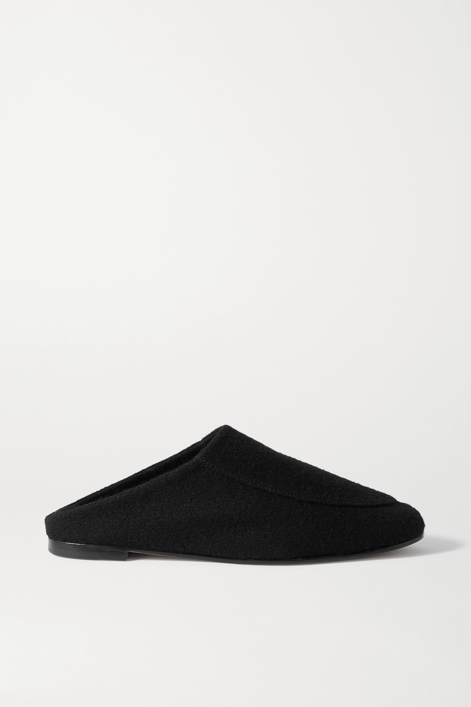 Porte & Paire Shearling-lined felt slippers