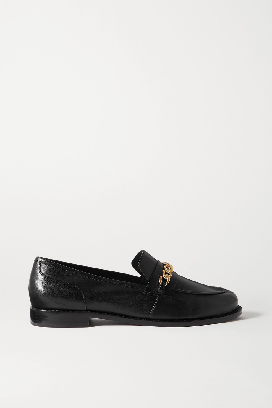 Porte & Paire Chain-embellished leather loafers