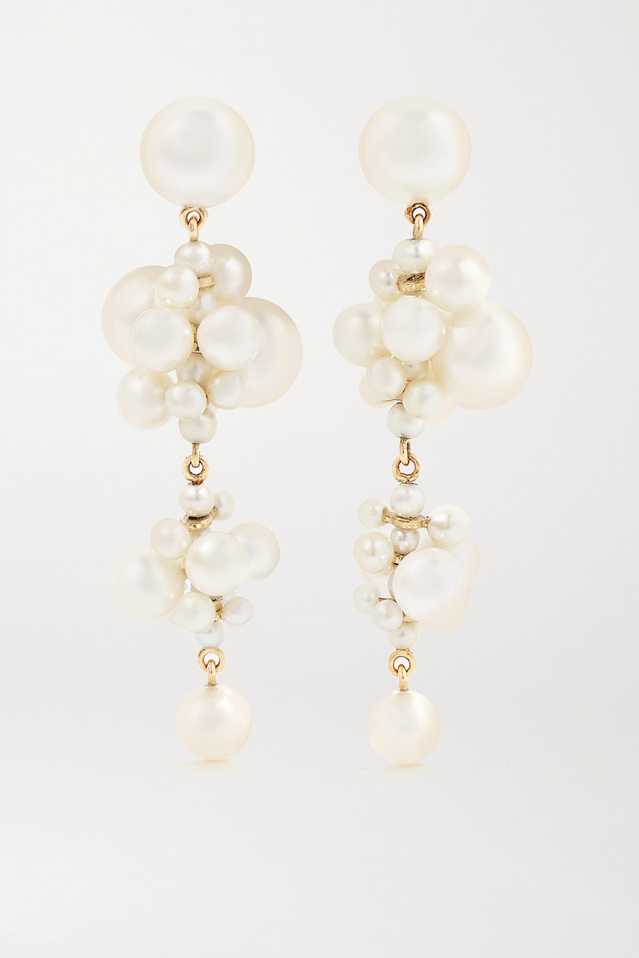 Sophie Bille Brahe Celli 14-karat gold pearl earrings