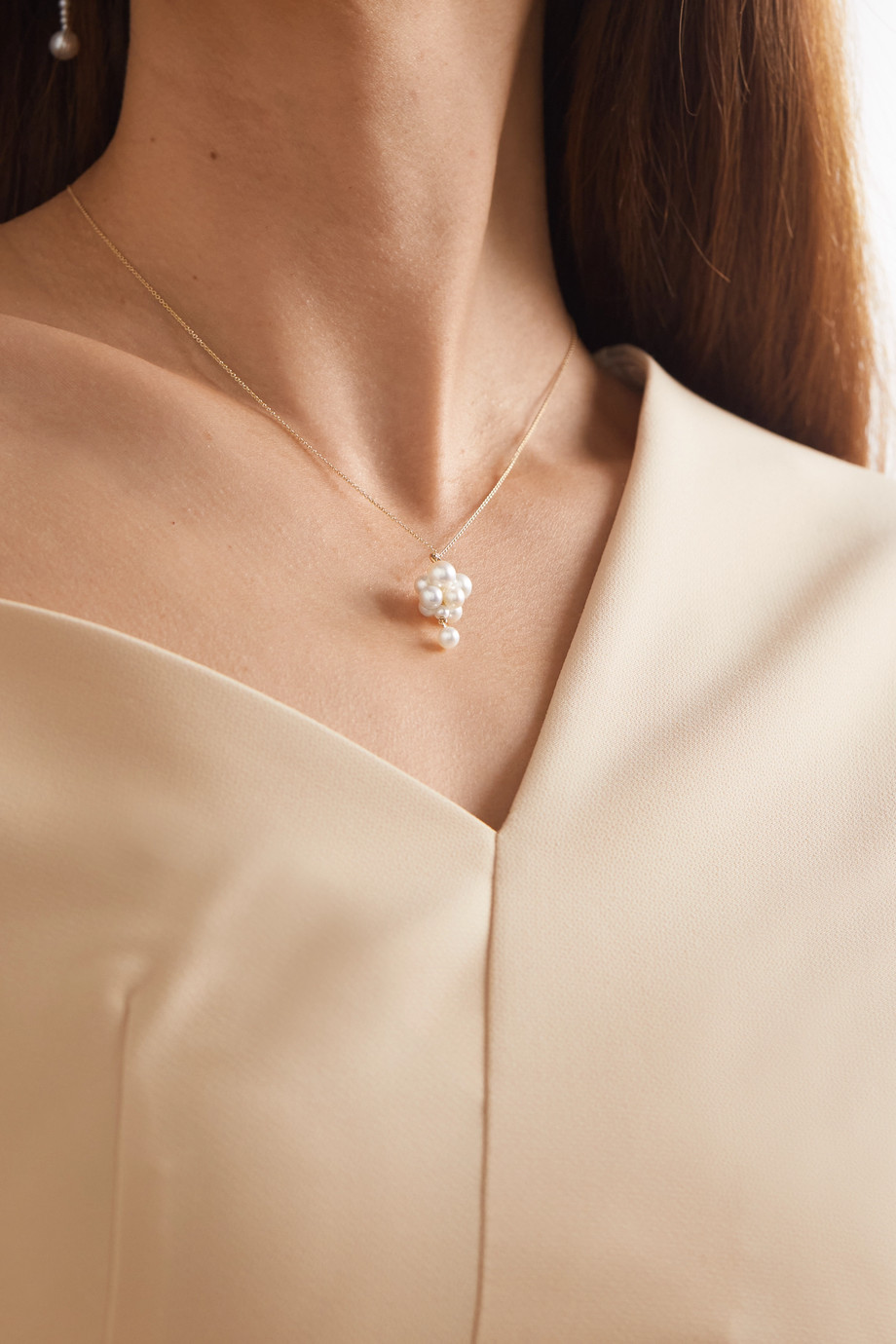 Sophie Bille Brahe Celli Chaine 14-karat gold pearl necklace