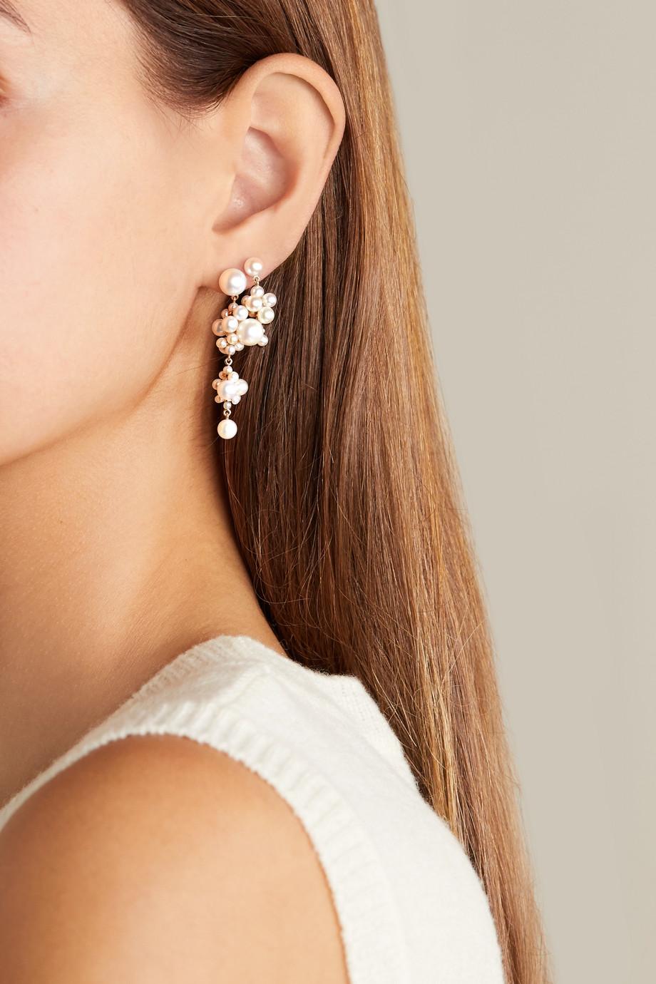 Sophie Bille Brahe Boucle d'oreille en or 14 carats et perles Petite Celli