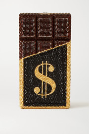 Judith Leiber Couture Candy Bar Rich & Delicious crystal-embellished silver-tone clutch