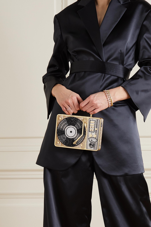 Judith Leiber Couture Turntable Scratch goldfarbene Clutch mit Kristallen