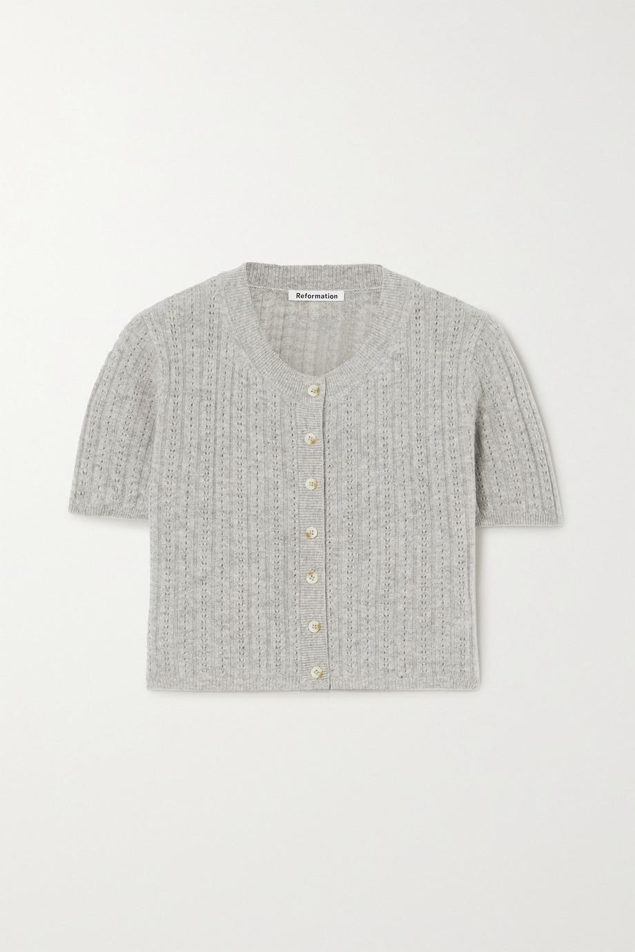 Reformation Germaine pointelle-knit cashmere cardigan