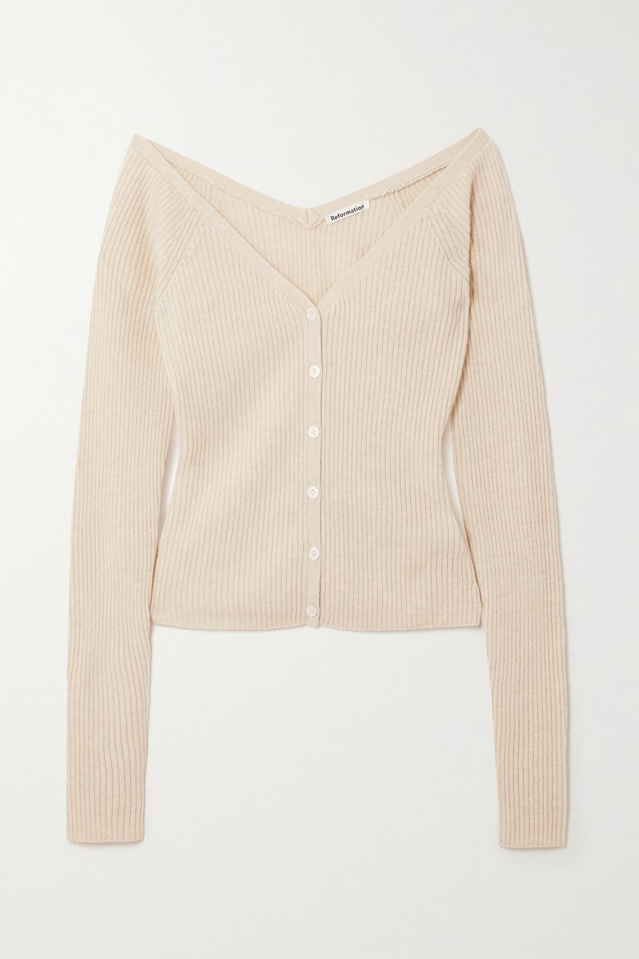 Reformation Faro cropped off-the-shoulder ribbed cashmere cardigan