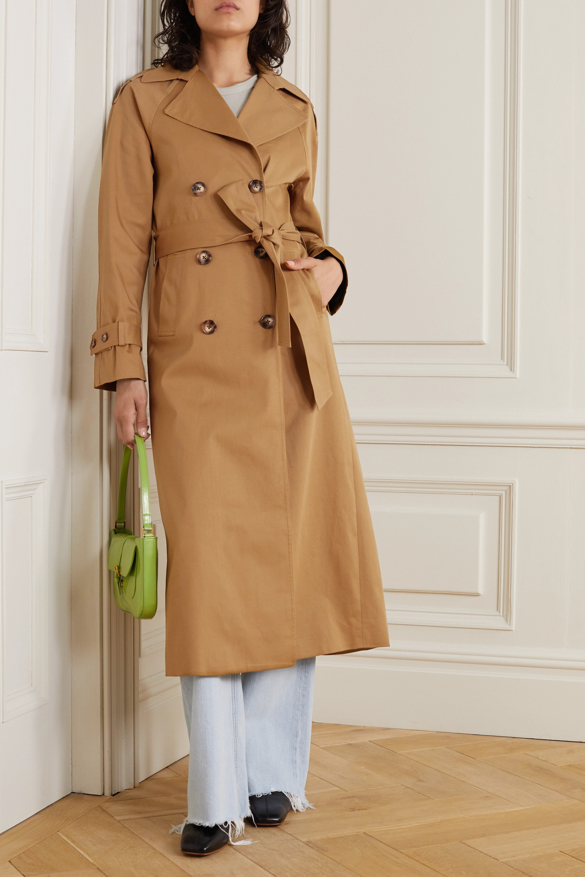 Reformation Holland double-breasted cotton-blend trench coat