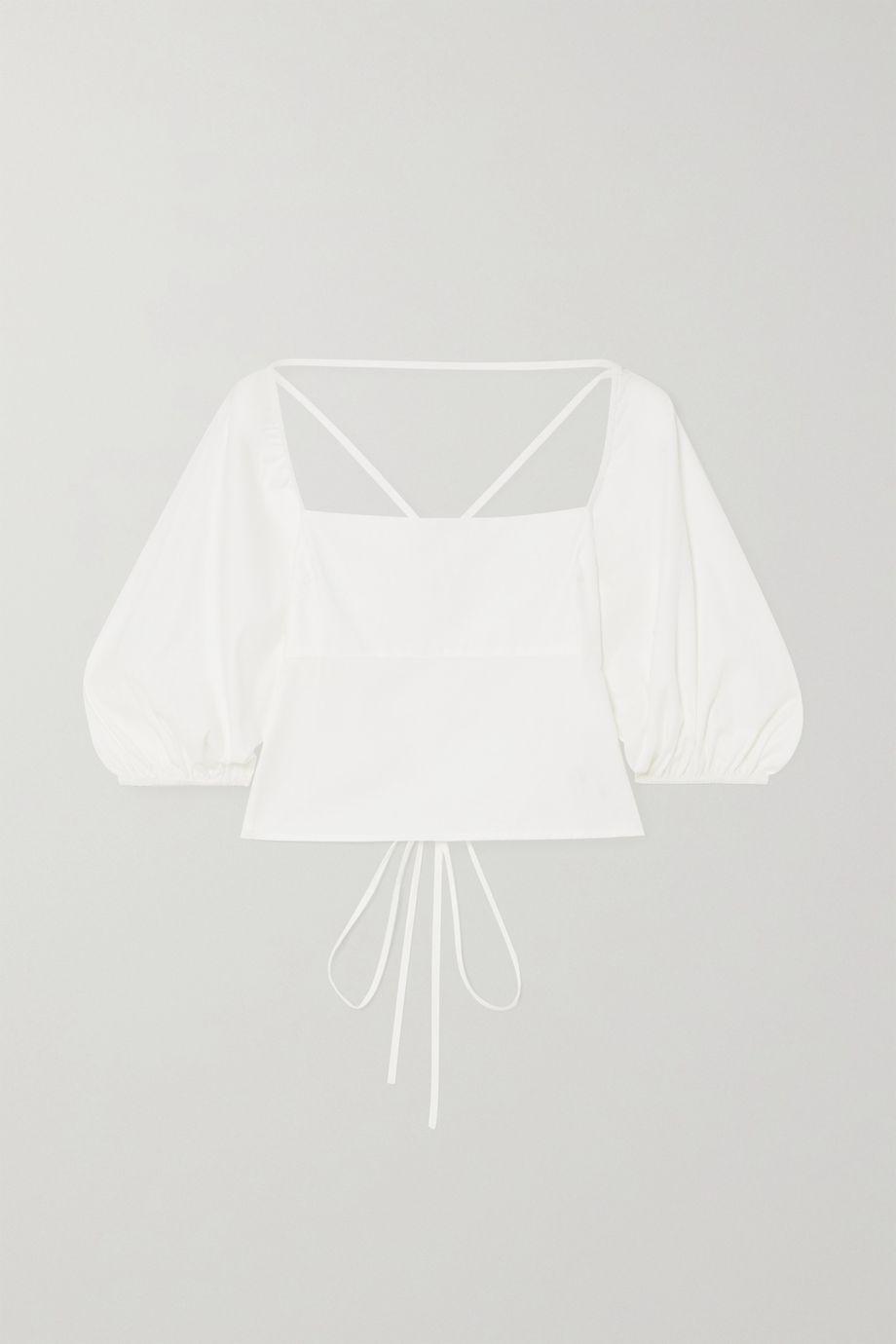 Reformation Celia open-back organic cotton-blend poplin top