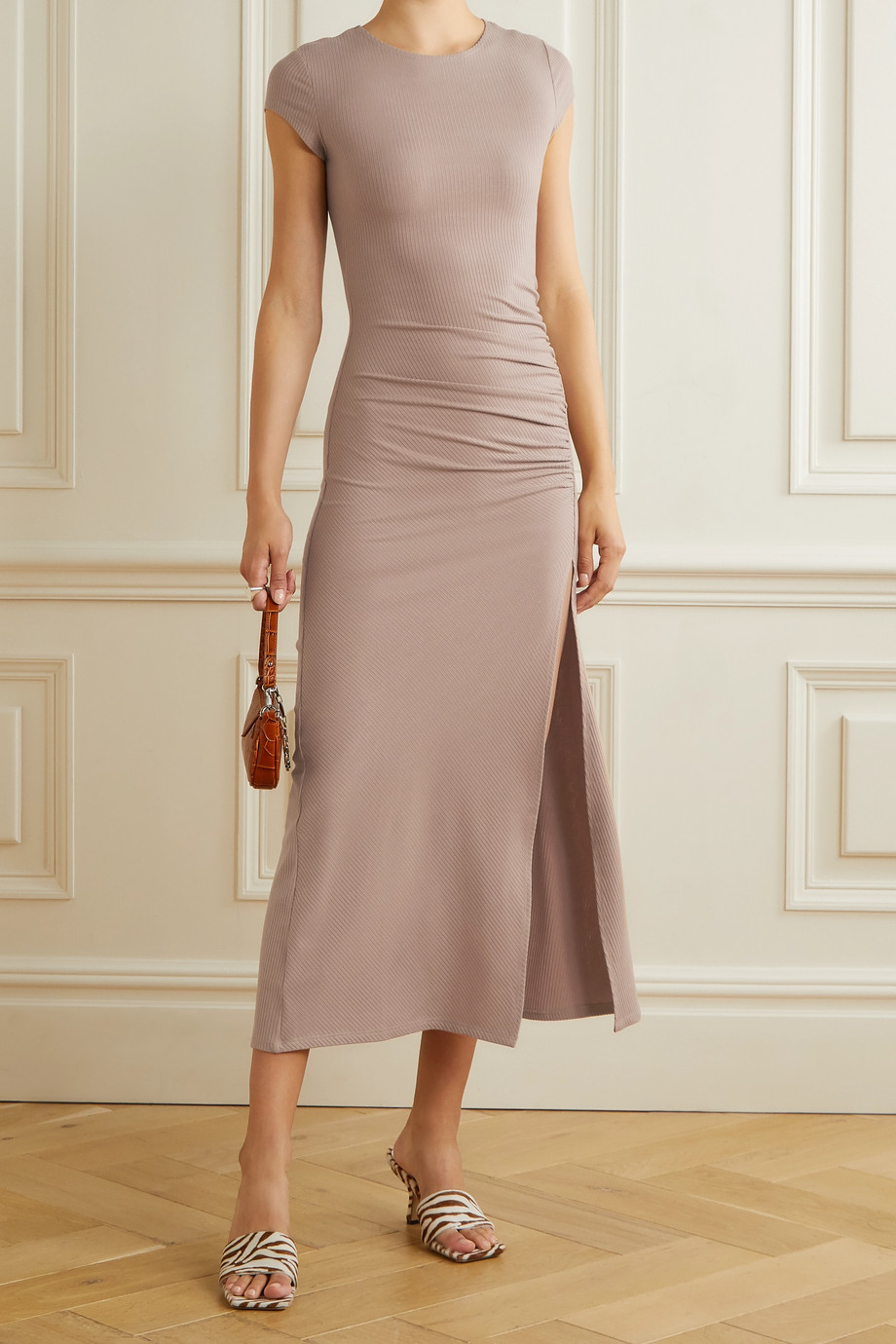 Reformation Brecken ruched ribbed stretch-TENCEL Lyocell midi dress
