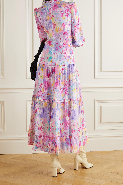 RIXO Monet ruffled tiered floral-print cotton and silk-blend midi dress